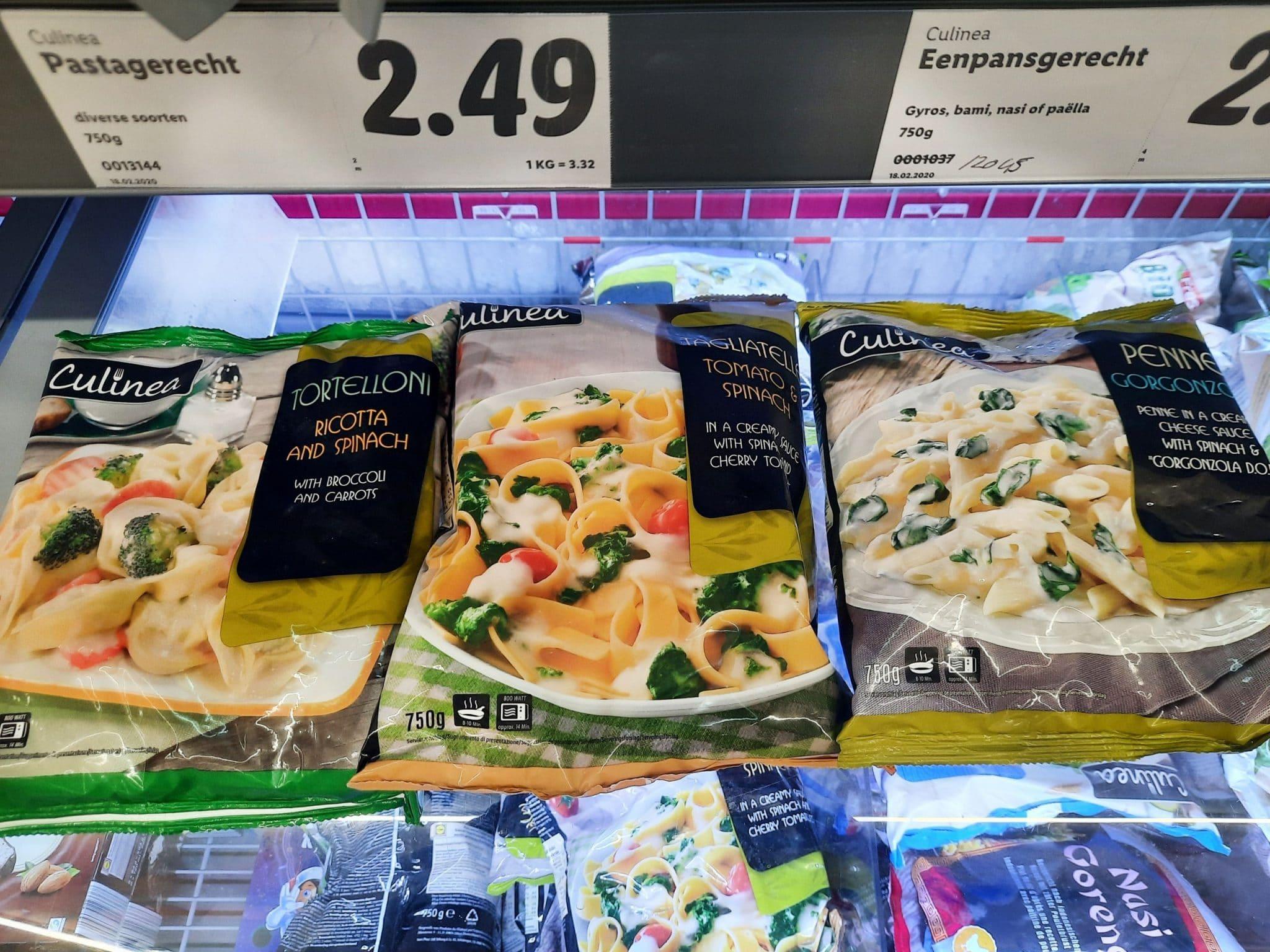 Pasta's in de supermarkt