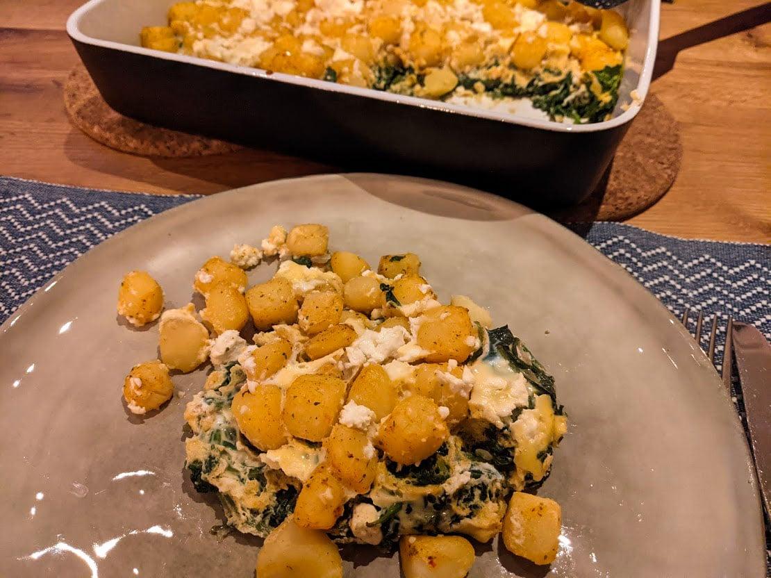 Eindresultaat! Ovenschotel met spinazie, feta en aardappel